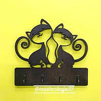 "Ключница из дерева настенная для дома ""Два милых котика"", ключниця"