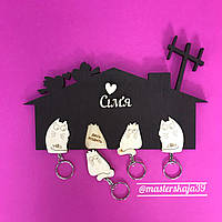 "Ключница из дерева настенная для дома ""4 кота"""