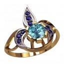 Золотое кольцо - лепестки сапфиры