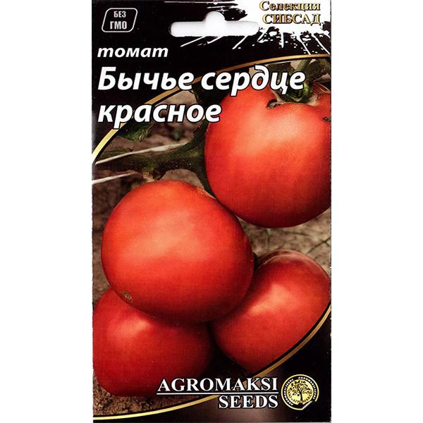 """Насіння томату пізнього, високорослого """"Бичаче серце"""" червоне (0,1 г) від Agromaksi seeds"""