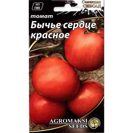 """Насіння томату пізнього, високорослого """"Бичаче серце"""" червоне (0,1 г) від Agromaksi seeds, фото 2"""
