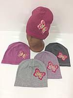 Детские демисезонные трикотажные шапки оптом для девочек, р.46-48, As-Bor (Польша)