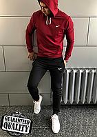 Мужской спортивный костюм Nike | Найк | Костюм Спортивний Nike (Бордово-Черный)