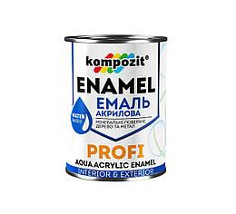 Акриловая эмаль по металлу и дереву Kompozit Profi 0.8л (Белый)
