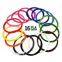 Набор PLA пластика Plexiwire для 3D ручки 1.75 мм / 160 метров (16 цветов по 10 м)  (6767765)