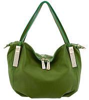 Кожаная женская сумка-мешок. Сумки. Зеленый цвет.