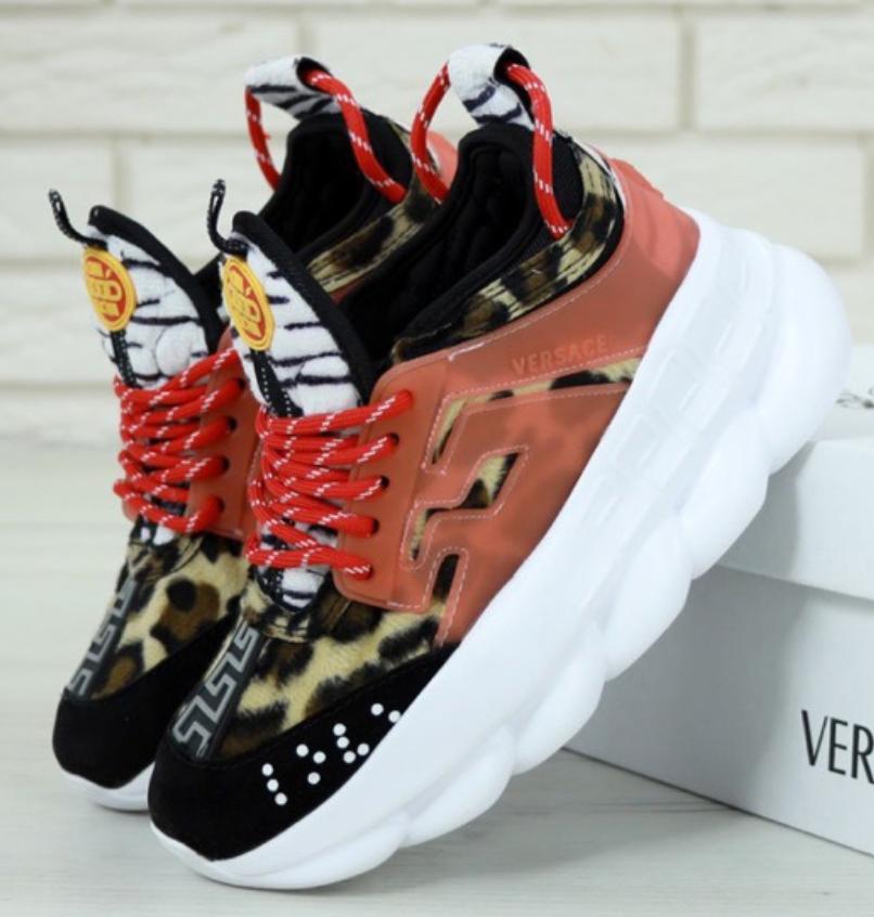 Женские кроссовки Versace Chain Reaction 2 Chainz Spotted/Black - Red, Версаче Леопардовые