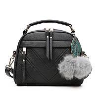Женская сумочка маленькая объемная черная с молниями, фото 1