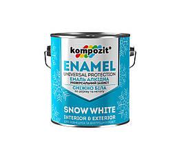 Эмаль алкидная для дерева и металла снежно-белая Kompozit 0.9кг (глянцевый)