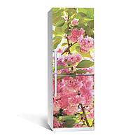 Наклейка на холодильник Цветение 01 ламинированная двойная (декор холодильника, самоклеющаяся пленка)