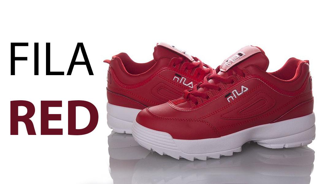 Розміри: 36, 38 Fila Disruptor Червоні кросівки   точна копія   жіночі