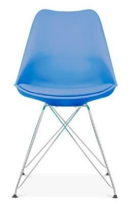 Пластиковый стул Тауэр С голубой с мягким сиденьем из экокожи от SDM Group, ноги хром