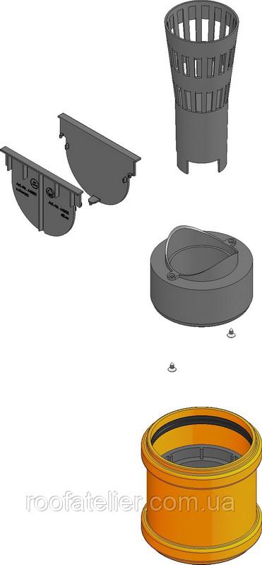 Комплект аксесуарів HAURATON TOP Х для жолоба: 2 глухі заглушки, вертик. випуск, корзина для крупного сміття