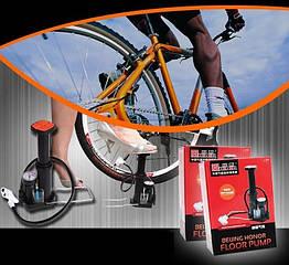 """Насос ножной пластмассовый авто / вело """"Honor"""" BH01B c манометром"""
