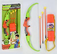 Детский Лук 881-09 со стрелам на присосках 3шт  колчан для стрел в  коробке , фото 1