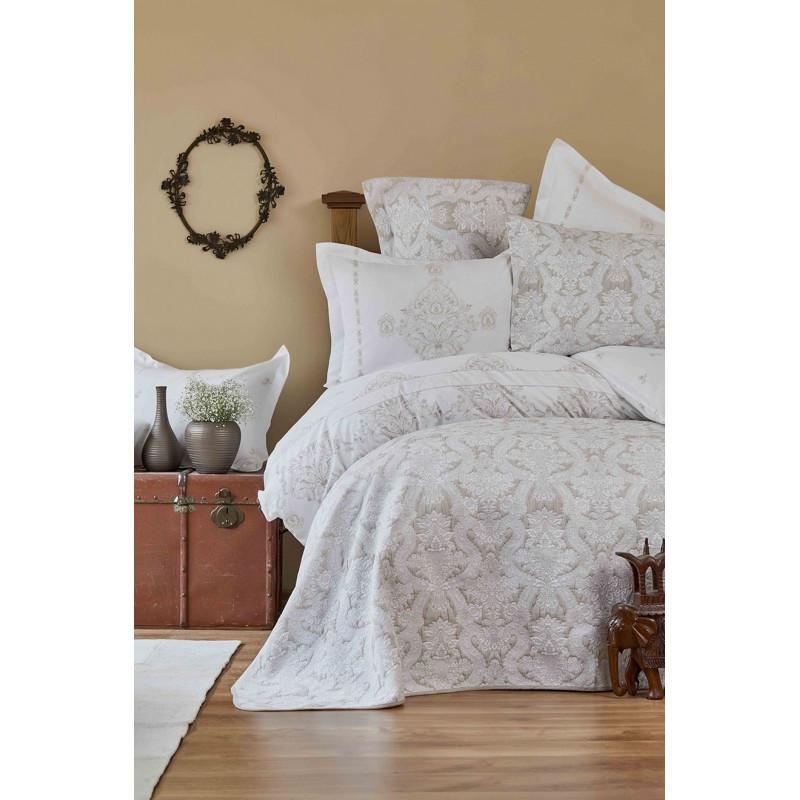 Набор постельное белье с покрывалом + плед Karaca Home - Sonora gold 2019-1 золотой евро