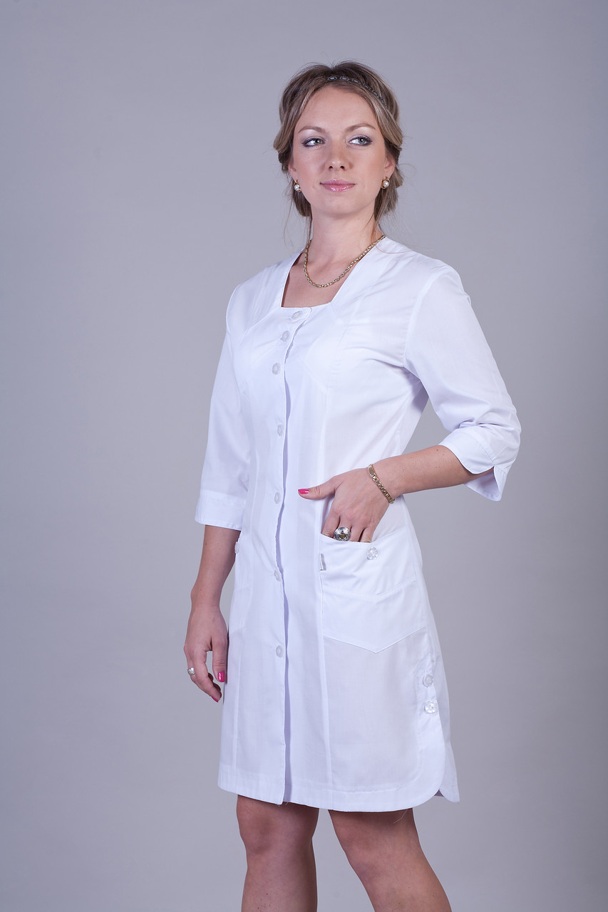 Медицинский женский халат белый 2119 ( батист 40-66 р-р)