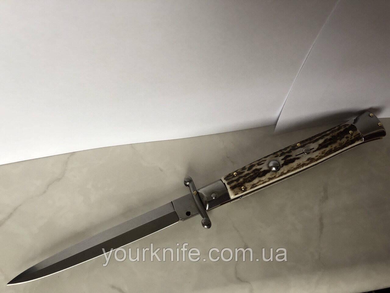 Нож Итальянский автоматический стилет Frank Beltrame Swinguard 28см рог оленя Bayonet