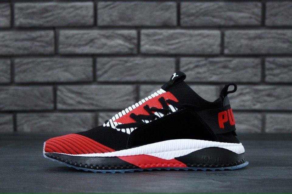 b12d270f Мужские кроссовки Puma Tsugi Jun Cubism (в стиле Пума)черно-красные, сетка