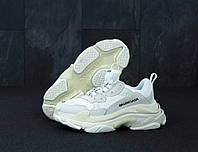 Женские кроссовки Balenciaga Triple S White. Кожа, текстиль, фото 1