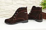 Ботинки женские демисезонные замшевые на низком ходу, фото 2