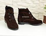 Ботинки женские демисезонные замшевые на низком ходу, фото 4