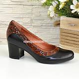 """Туфли женские на невысоком устойчивом каблуке, натуральные кожа и лаковая кожа """"крокодил""""., фото 2"""