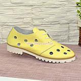 Туфлі жіночі шкіряні на тракторній підошві, колір-жовтий. Полегшений варіант., фото 2