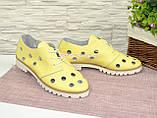 Туфлі жіночі шкіряні на тракторній підошві, колір-жовтий. Полегшений варіант., фото 3