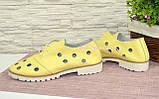 Туфлі жіночі шкіряні на тракторній підошві, колір-жовтий. Полегшений варіант., фото 4