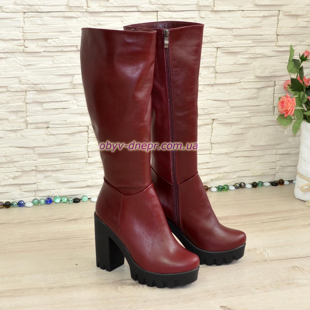 Сапоги зимние кожаные на высоком устойчивом каблуке