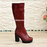 Сапоги зимние кожаные на высоком устойчивом каблуке, фото 2