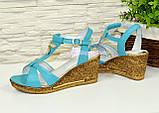 Босоножки женские кожаные на золотистой платформе, цвет бирюза, фото 4