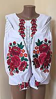 Вишиванка жіноча домоткане полотно квітковий орнамент 44 розмір