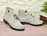 Черевики замшеві туфлі на невисокому каблуці, колір сірий, фото 2