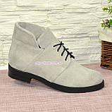 Черевики замшеві туфлі на невисокому каблуці, колір сірий, фото 3