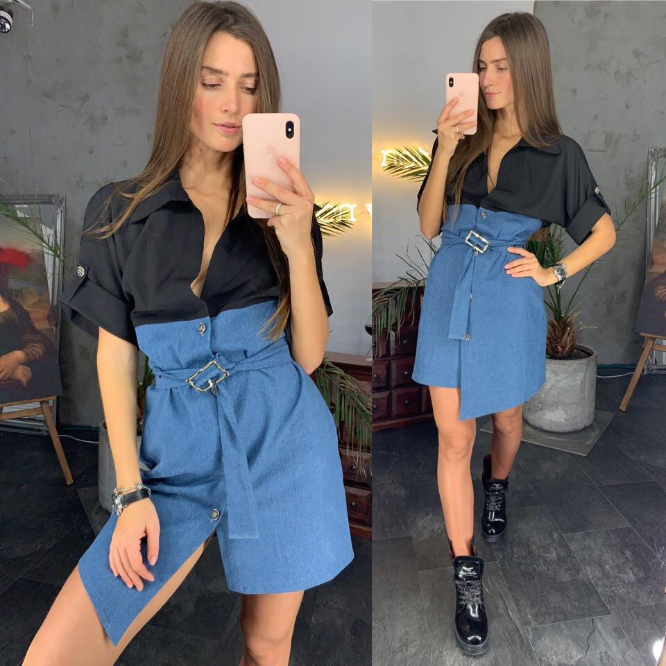 95db3dc6c23cf52 Платье женское стильное верх рубашка низ джинсовая юбка с поясом разные  цвета Smld3011 - Shoppingood в