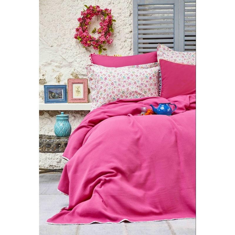 Постельное белье Karaca Home - Picata fusya 2018-2 фуксия pike jacquard 200*220 евро