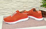 Кросівки жіночі замшеві на білій підошві, на шнурках, фото 3