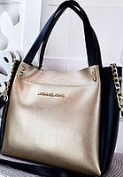 """Сумка женская, стильная """"Michael Kors"""", цвет черный с золотым, 000090, фото 1"""