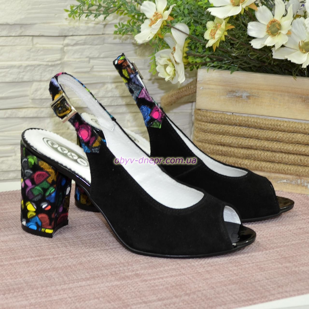 Женские замшевые босоножки на устойчивом высоком каблуке