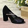Туфли замшевые с открытым носком, на высоком устойчивом каблуке, фото 2