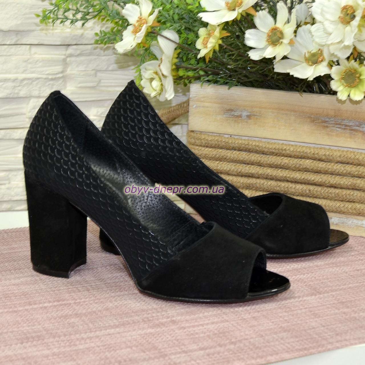 Туфли замшевые с открытым носком, на высоком устойчивом каблуке, цвет черный