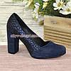 Туфли замшевые на высоком устойчивом каблуке, цвет синий, фото 2