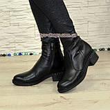 Ботинки кожаные демисезонные на невысоком каблуке, цвет черный, фото 2