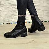 Ботинки кожаные демисезонные на невысоком каблуке, цвет черный, фото 3