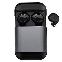 Wi-pods S7 Bluetooth 5.0 наушники беспроводные водонепроницаемые с зарядным чехлом-кейсом. Металлик Оригинал