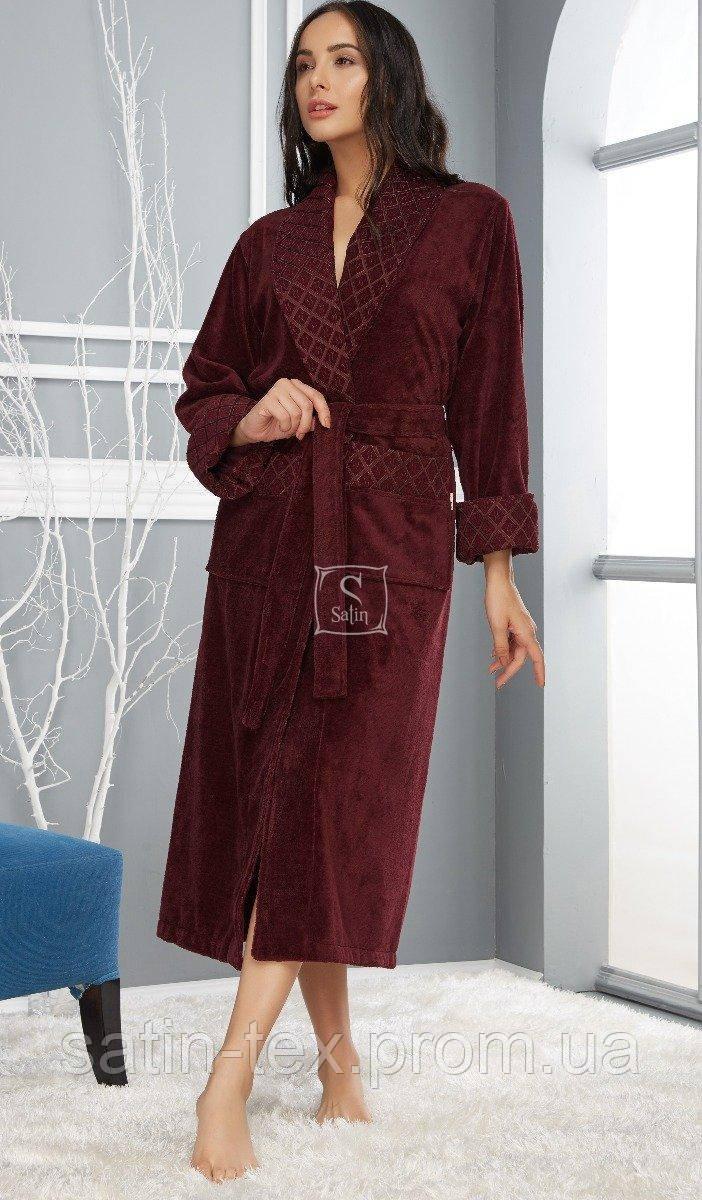 47c2ffdee95f7 Халат женский махровый Nusa. ns 8520 бордовый-3XL, цена 1 537 грн., купить  в Киеве — Prom.ua (ID#899810728)