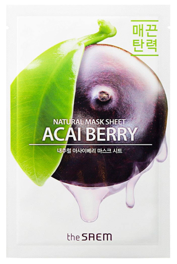 Тканевая маска для лица с экстрактом ягод асаи The Saem Natural Acai Berry Mask Sheet 21 мл (8806164159002)