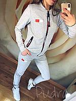 Женский спортивный костюм весна-осень Tommy змейка (42 44 46 48 ) (цвет серый) СП, фото 1